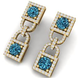 4 CTW Certified Si/I Fancy Blue And White Diamond Earrings 18K Yellow Gold - REF-265R9K - 40162