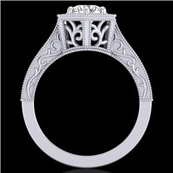 0.77 CTW VS/SI Diamond Art Deco Ring 18K White Gold - REF-218H2W - 36896