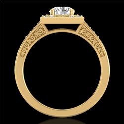 1.1 CTW VS/SI Diamond Art Deco Ring 18K Yellow Gold - REF-227M3F - 37267
