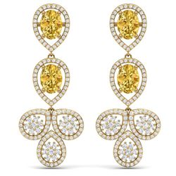 8.15 CTW Royalty Canary Citrine & VS Diamond Earrings 18K Yellow Gold - REF-272R8K - 39095