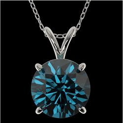 2 CTW Certified Intense Blue SI Diamond Solitaire Necklace 10K White Gold - REF-416F2M - 33236
