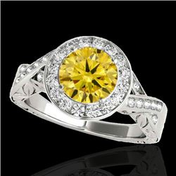 1.75 CTW Certified Si Fancy Intense Yellow Diamond Solitaire Halo Ring 10K White Gold - REF-320N2Y -
