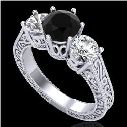 2.01 CTW Fancy Black Diamond Solitaire Art Deco 3 Stone Ring 18K White Gold - REF-241Y8N - 37576