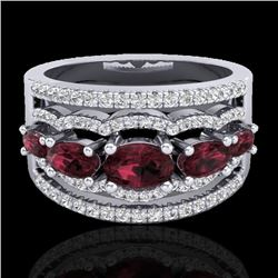 2.25 CTW Garnet & Micro Pave VS/SI Diamond Certified Designer Ring 10K White Gold - REF-69R3K - 2103