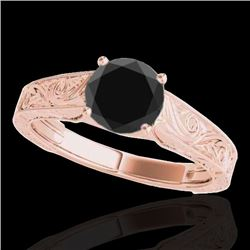 1.5 CTW Certified Vs Black Diamond Solitaire Antique Ring 10K Rose Gold - REF-54W9H - 35195