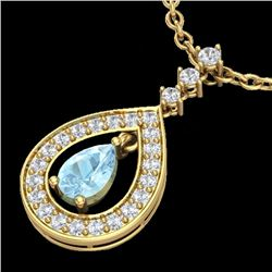1.15 CTW Aquamarine & Micro Pave VS/SI Diamond Necklace Designer 14K Yellow Gold - REF-61H3W - 23162