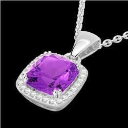 3 CTW Amethyst & Micro VS/SI Diamond Pave Halo Necklace 18K White Gold - REF-48H9W - 22815