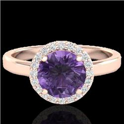 2 CTW Amethyst & Halo VS/SI Diamond Micro Pave Ring Solitaire 14K Rose Gold - REF-40W2H - 21616
