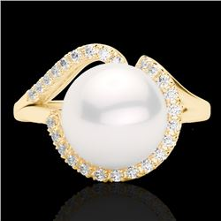 0.27 CTW VS/SI Diamond & White Pearl Designer Ring 18K Yellow Gold - REF-50T8X - 22624