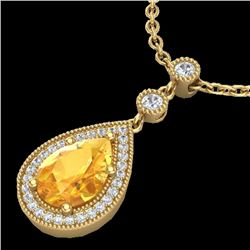 2.25 CTW Citrine & Micro Pave VS/SI Diamond Certified Necklace 18K Yellow Gold - REF-46T2X - 23132
