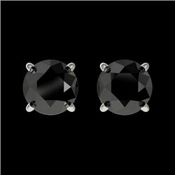 1.11 CTW Fancy Black VS Diamond Solitaire Stud Earrings 10K White Gold - REF-32X5T - 36587