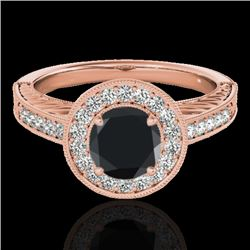 1.5 CTW Certified Vs Black Diamond Solitaire Halo Ring 10K Rose Gold - REF-75F3M - 33746