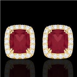2.50 CTW Ruby & Micro Pave VS/SI Diamond Certified Halo Earrings 10K Yellow Gold - REF-49W3H - 22869