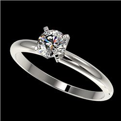 0.54 CTW Certified H-SI/I Quality Diamond Solitaire Engagement Ring 10K White Gold - REF-54X2T - 363