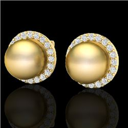 0.50 CTW Micro Pave Halo VS/SI Diamond Certifieden Pearl Earrings 18K Yellow Gold - REF-61H3W - 2149