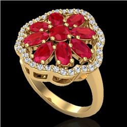 4 CTW Ruby & VS/SI Diamond Certified Cluster Designer Halo Ring 10K Yellow Gold - REF-63H8W - 20785