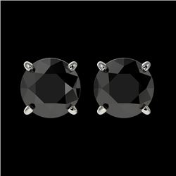 1.50 CTW Fancy Black VS Diamond Solitaire Stud Earrings 10K White Gold - REF-42H8W - 33072