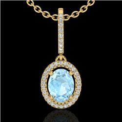 1.75 CTW Aquamarine & Micro VS/SI Diamond Necklace Halo 18K Yellow Gold - REF-64X9T - 20651
