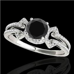 1.36 CTW Certified Vs Black Diamond Solitaire Ring 10K White Gold - REF-67K3R - 35325