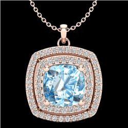 2.08 CTW Sky Blue Topaz & Micro Pave VS/SI Diamond Halo Necklace 14K Rose Gold - REF-56K4R - 20448