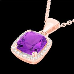 3 CTW Amethyst & Micro VS/SI Diamond Pave Halo Necklace 14K Rose Gold - REF-40F5M - 22816