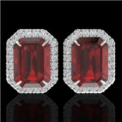 12 CTW Garnet And Micro Pave VS/SI Diamond Certified Halo Earrings 18K White Gold - REF-73F6M - 2122