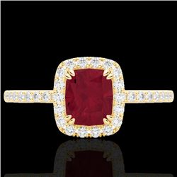 1.25 CTW Ruby & Micro Pave VS/SI Diamond Certified Halo Ring 10K Yellow Gold - REF-34F2M - 22909