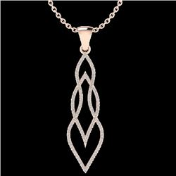 0.80 CTW Micro Pave VS/SI Diamond Certified Necklace 14K Rose Gold - REF-78W2H - 20386