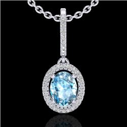 2 CTW Sky Blue Topaz & Micro VS/SI Diamond Necklace Halo 18K White Gold - REF-58R2K - 20653