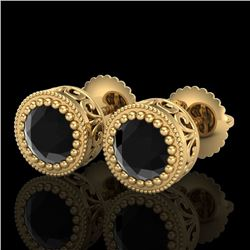 1.09 CTW Fancy Black Diamond Solitaire Art Deco Stud Earrings 18K Yellow Gold - REF-63T6X - 37480