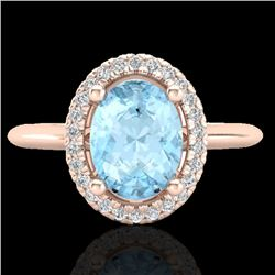 1.50 CTW Aquamarine & Micro VS/SI Diamond Ring Solitaire Halo 14K Rose Gold - REF-47W8H - 21000