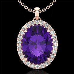 2.75 CTW Amethyst & Micro VS/SI Diamond Halo Solitaire Necklace 14K Rose Gold - REF-38W5H - 20575