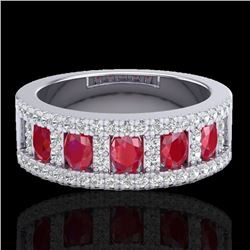 2.34 CTW Ruby & Micro Pave VS/SI Diamond Designer Inspired Ring 10K White Gold - REF-67Y3N - 20826