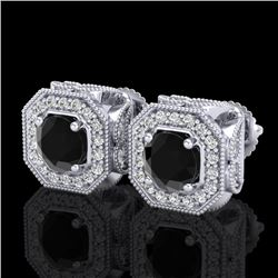 2.75 CTW Fancy Black Diamond Solitaire Art Deco Stud Earrings 18K White Gold - REF-178W2H - 38283