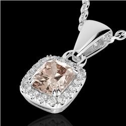 1.25 CTW Morganite & Micro Pave VS/SI Diamond Certified Halo Necklace 10K White Gold - REF-36W4H - 2