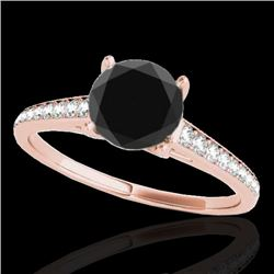 1.5 CTW Certified Vs Black Diamond Solitaire Ring 10K Rose Gold - REF-67R8K - 34848