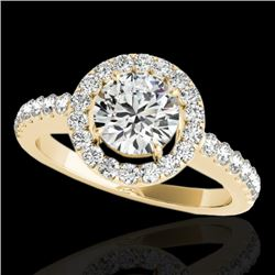 1.65 CTW H-SI/I Certified Diamond Solitaire Halo Ring 10K Yellow Gold - REF-180M2F - 33474