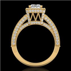 3.5 CTW Princess VS/SI Diamond Solitaire Micro Pave Ring 18K Yellow Gold - REF-581N8Y - 37168
