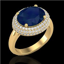 4.50 CTW Sapphire & Micro Pave VS/SI Diamond Certified Ring 18K Yellow Gold - REF-119H6W - 20925