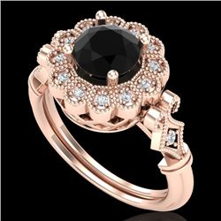 1.2 CTW Fancy Black Diamond Solitaire Engagement Art Deco Ring 18K Rose Gold - REF-123T6X - 37829