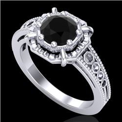 1 CTW Fancy Black Diamond Solitaire Engagement Art Deco Ring 18K White Gold - REF-100K2R - 37443