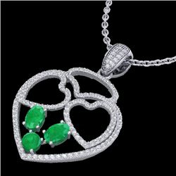 3 CTW Emerald & Micro Pave Designer Inspired Heart Necklace 14K White Gold - REF-117X8T - 22539