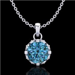 0.85 CTW Fancy Intense Blue Diamond Solitaire Art Deco Necklace 18K White Gold - REF-109T3X - 37369
