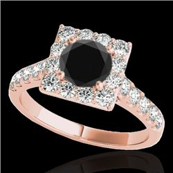 2 CTW Certified Vs Black Diamond Solitaire Halo Ring 10K Rose Gold - REF-101N8Y - 34136