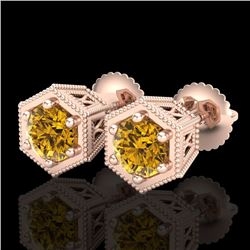 1.15 CTW Intense Fancy Yellow Diamond Art Deco Stud Earrings 18K Rose Gold - REF-130F9M - 38044