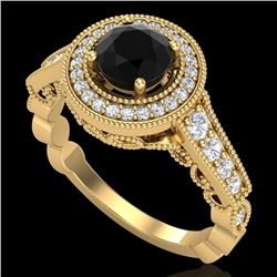 1.12 CTW Fancy Black Diamond Solitaire Engagement Art Deco Ring 18K Yellow Gold - REF-125T5X - 37690