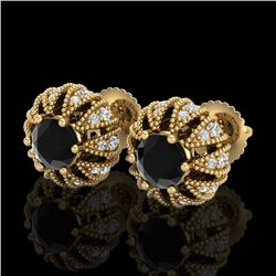 2.01 CTW Fancy Black Diamond Art Deco Micro Pave Stud Earrings 18K Yellow Gold - REF-143T6X - 37732