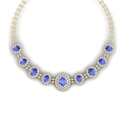 46.51 CTW Royalty Tanzanite & VS Diamond Necklace 18K Yellow Gold - REF-1727W3H - 38801