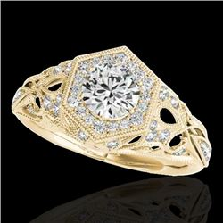 1.4 CTW H-SI/I Certified Diamond Solitaire Antique Ring 10K Yellow Gold - REF-170W9H - 34177