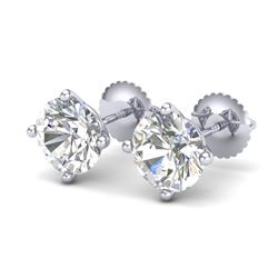 3.01 CTW VS/SI Diamond Solitaire Art Deco Stud Earrings 18K White Gold - REF-927T3X - 37310